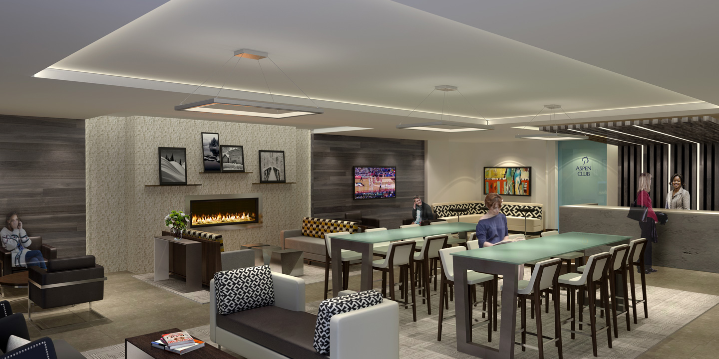 Aspen Club Main Entry and Lounge Area Rendering