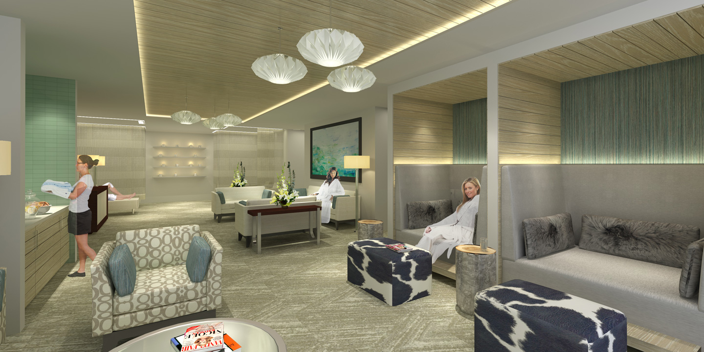 Aspen Club Spa Lounge Rendering